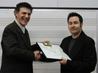Allan Zavod presenting award to Andrian Pertout at the 2002 inaugural composers award presentation - click to see an enlarged version of this image
