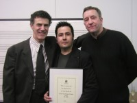 Allan Zavod, Andrian Pertout and Brenton Broadstock at the 2002 inaugural composers award - click to see an enlarged version of this image