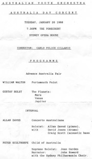 Australian Youth Orchestra: Australia Day Concert Program - click to see an enlarged version of this image
