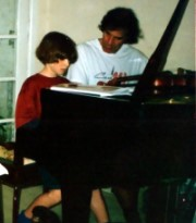 Allan Zavod teaching composition to a young student - click to see an enlarged version of this image