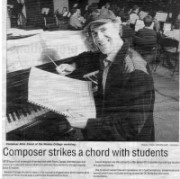 Allan Zavod strikes a chord with students.  At Wesley College Elsternwick Campus, Allan offered 60 students musical tips as part of a jazz workshop: 1995.
