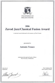 Jazz Classical Fusion Composer 2006 Award goes to Antonio Tenace - click to see an enlarged version of this image