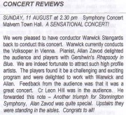 Allan Zavod performed Rhapsody In Blue with the  Stonnington Symphony at Malvern Town Hall - click to see an enlarged version of this image