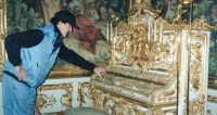 Allan Zavod getting close to the beautiful piano that Wagner played at King Ludwig II's Linderhof Palace in Bavaria - click to see an enlarged version of this image