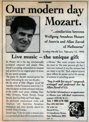 Allan Zavod's own advertisement, selling his composing ability to create a unique musical gift: 'Say it with live music, composed, arranged and performed live by Allan Zavod': 1995.
