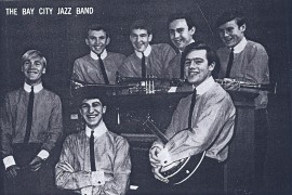 Allan Zavod on the piano with the Bay City Jazz Band - 1966 Newspaper article - click to see an enlarged version of this image