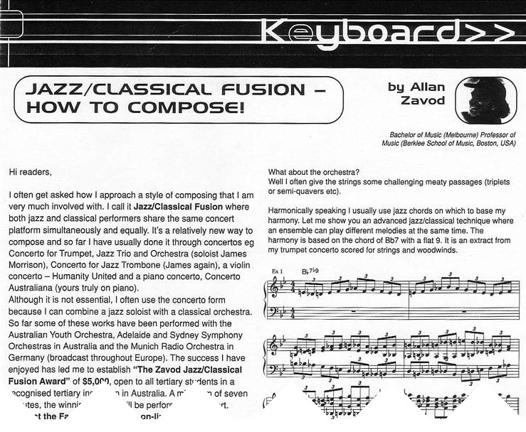 Jazz-Classical Fusion: How to Compose - lesson printed in the Australian Musician Magazine.  Click to see enlarged image.
