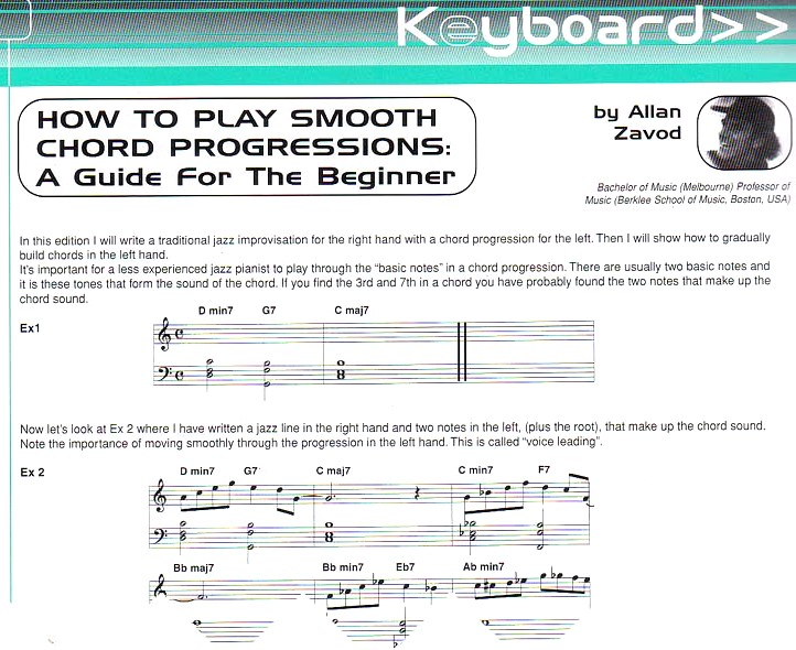 How to Play Smooth Chord Progressions: A Guide for the Beginner - lesson printed in the Australian Musician Magazine.  Click to see enlarged image.