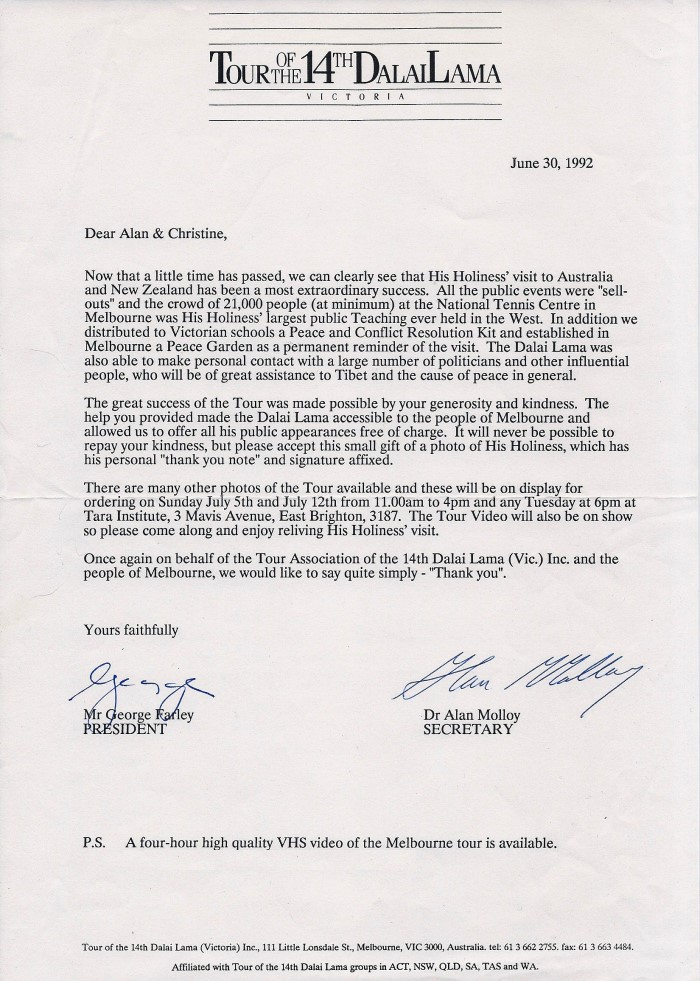 Allan Zavod's thank you letter from the Dalai Lama tour organizers about his Melbourne fund-raising performance in 1992