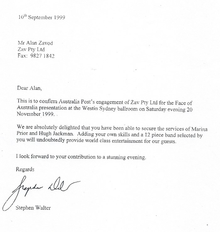 Allan Zavod's thank you letter from Australia Post for perfomring at the 'Face of Australia' presentation at the Westin Sydney Ballroom