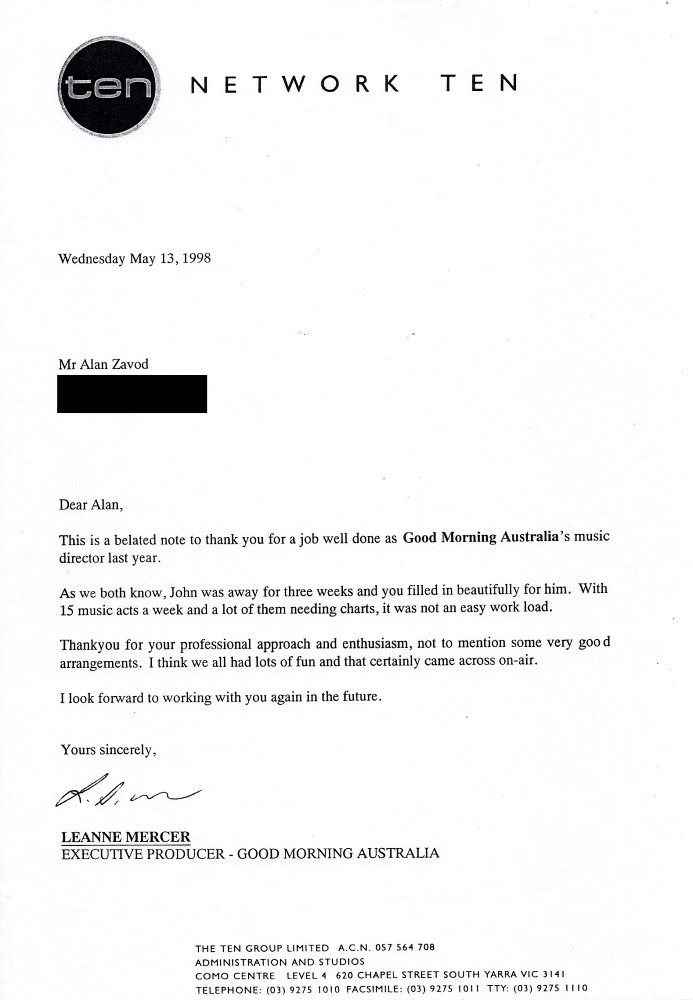 Allan Zavod's thank you letter from  Good Morning Australia for his work as Music Director in 1998