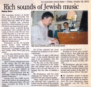 Rich sounds of Jewish music, article by Danny gocs from 'The Australian Jewish News' - 18 October, 2002