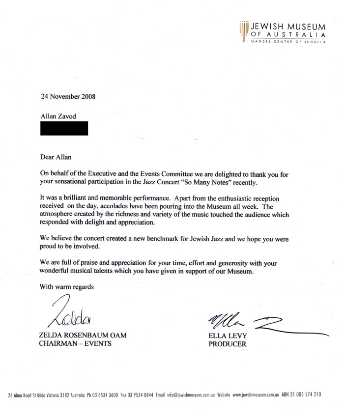 Allan Zavod's thank you letter from the Executive and Events committee of the Jewish Museum Of Australia for his performance at the 'So Many Notes' Jazz Concert  in November 2008.