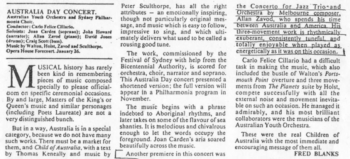 Allan Zavod wrote and performed 'Concerto Australiana' for the 1988 Australia Day Bicentennial