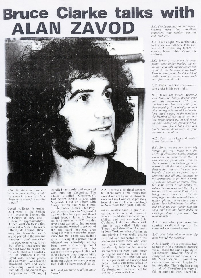 In 1978, Allan was interviewed by Bruce Clarke - while he was still touring with Jean-Luc Ponty, but home in Australia on a break between tours. - Click to enlarge image