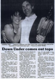 Jubilant winner Allan Zavod and the singer of his winning song, Catherine Ceberano: 1987.